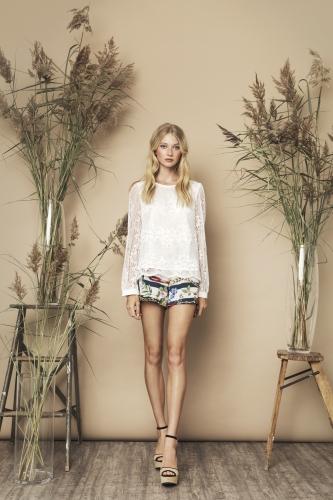 Janice Top Ivory Olive Shorts